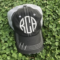 Black Distressed Monogrammed Trucker Hat